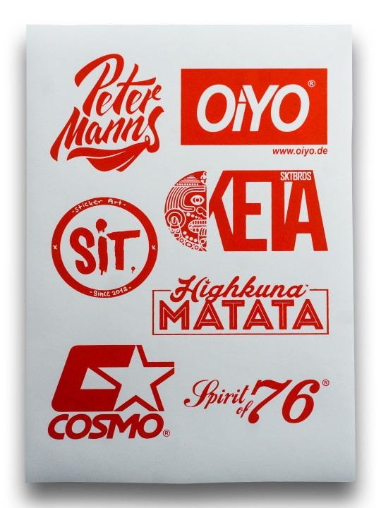 Sticker Sheet Red on White