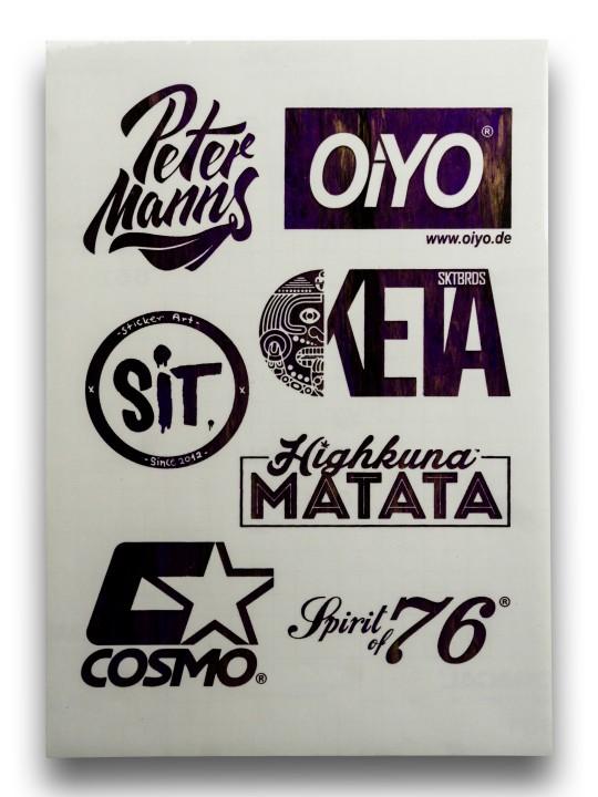 Sticker Sheet Dark Purple on White