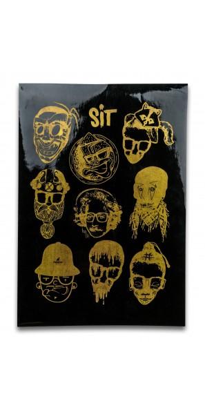 Sticker Sheet Gold on Black