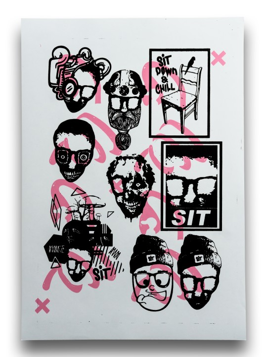 Sticker Sheet Black Pink on White
