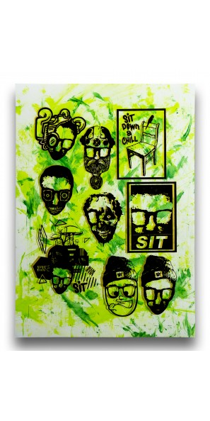 Sticker Sheet Green Yellow on White